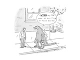 Godzilla, carrying bags from the grocery store, speaks to a man on the str… - New Yorker Cartoon Premium Giclee Print by Kim Warp