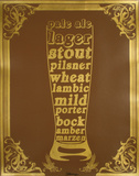 Beer Typography (Gold) Serigrafía por Kyle & Courtney Harmon