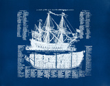 Old Ship Diagram (blue) Serigraph by Kyle &amp; Courtney Harmon