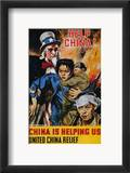 "Wwii Poster: ""Help China"" Estampe encadrée par James Montgomery Flagg"