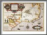 Map: Colonial America, Prints by Jodocus Hondius