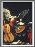 St. Cecilia And The Angel Print by Carlo Saraceni