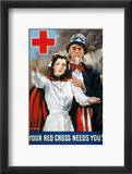 World War Ii: Red Cross Estampe encadrée par James Montgomery Flagg