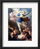 The Archangel Michael Estampe encadrée par Luca Giordano