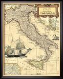Landkarte Italiens Gerahmter Giclée-Druck von  Vision Studio