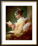 Young Girl Reading Gerahmter Giclée-Druck von Jean-Honoré Fragonard