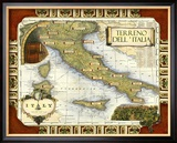Wine Map of Italy Kehystetty giclee-vedos