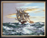 Dawn Chase Framed Giclee Print by Montague Dawson