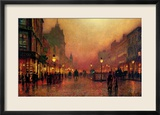 Eine Straße bei Nacht Gerahmter Giclée-Druck von John Atkinson Grimshaw
