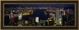 Buildings Illuminated at Night, Hong Kong Framed Photographic Print by  Panoramic Images