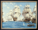 Die Schlacht bei Trafalgar Gerahmter Gicl&#233;e-Druck von Montague Dawson