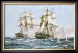 The Action Between the Java and Constitution Framed Giclee Print by Montague Dawson
