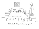 """Wake up, Harold—you're dreaming again."" - New Yorker Cartoon Premium Giclee Print by Michael Shaw"
