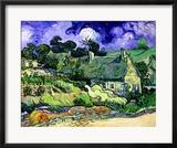 Thatched Cottages at Cordeville, Auvers-Sur-Oise, c.1890 Gerahmter Giclée-Druck von Vincent van Gogh
