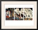 Mitsukini Defying the Skeleton Spectre, circa 1845 Framed Giclee Print by Kuniyoshi Utagawa
