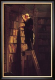 Der Bücherwurm Gerahmter Giclée-Druck von Carl Spitzweg