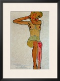 Seated Female Nude with Raised Right Arm, 1910 Framed Giclee Print by Egon Schiele