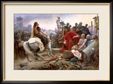 Vercingetorix Throws Down His Arms at the Feet of Julius Caesar, 1899 Gerahmter Giclée-Druck von Lionel Noel Royer