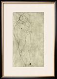 Lovers, Black Crayon (1908) Framed Giclee Print by Gustav Klimt