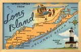 Greetings from Long Island, New York, Map Framed Giclee Print