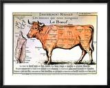 Rindfleisch: Schematische Darstellung der verschiedenen Fleischstücke Gerahmter Giclée-Druck