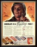 Nestle&#39;s, Propaganda Chocolate Sweets WWII Chocolate Is a Fighting Food, USA, 1940 Posters