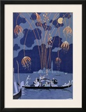 "Fireworks in Venice, Illustration for ""Fetes Galantes"" by Paul Verlaine 1924 Framed Giclee Print by Georges Barbier"
