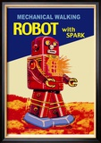 Mechanical Walking Red Robot with Spark Poster