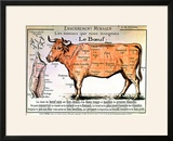 Beef: Diagram Depicting the Different Cuts of Meat Framed Giclee Print