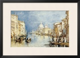 The Grand Canal, Venice, with Gondolas and Figures in the Foreground, circa 1818 Framed Giclee Print by William Turner
