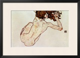 Crouching Nude, Back View, 1917 Framed Giclee Print by Egon Schiele