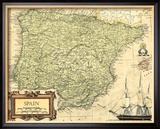 Spain Map Framed Giclee Print by Vision Studio