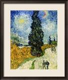 Road with Cypresses, c.1890 Gerahmter Giclée-Druck von Vincent van Gogh