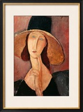 Portrait of a Woman (Jeanne Hébuterne) in Large Hat, c.1918 Framed Giclee Print by Amedeo Modigliani