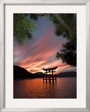 Torii Shrine Gate in the Sea, Miyajima Island, Honshu, Japan Framed Photographic Print by Christian Kober