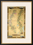 Map Depicting Plantations on the Mississippi River from Natchez to New Orleans, 1858 Framed Giclee Print