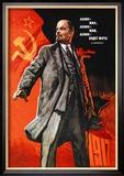 Lenin leefde, Lenin leeft, Lenin zal leven, Lenin staand voor vlag, met Russische tekst Kunst van Victor Ivanov