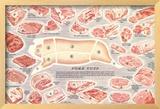 Pork Cuts Chart Framed Giclee Print