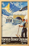Montreux Ski Poster Framed Giclee Print