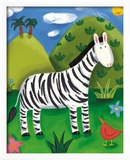 Zara the Zebra Framed Giclee Print by Sophie Harding