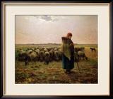 Shepherdess with Her Flock, 1863 Gerahmter Giclée-Druck von Jean-François Millet