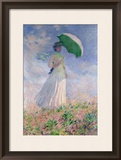 Woman with a Parasol Turned to the Right, 1886 Framed Giclee Print by Claude Monet