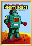 Mechanical Green Mighty Robot with Spark Framed Giclee Print