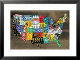 Landkarte der USA II Gerahmter Giclée-Druck von Aaron Foster