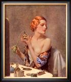 Perfume Woman Doing Her Make-Up, Budoir Putting On Perfume, UK, 1930 Print