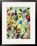 Garden with Blue Tulip Framed Giclee Print by Kim Parker