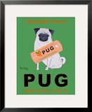 Pug Orange Juice Framed Giclee Print by Ken Bailey
