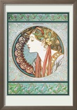 Woman&#39;s Profile Posters by Alphonse Mucha