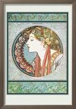 Woman's Profile Art by Alphonse Mucha