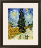 Road with Cypresses, c.1890 Framed Giclee Print by Vincent van Gogh